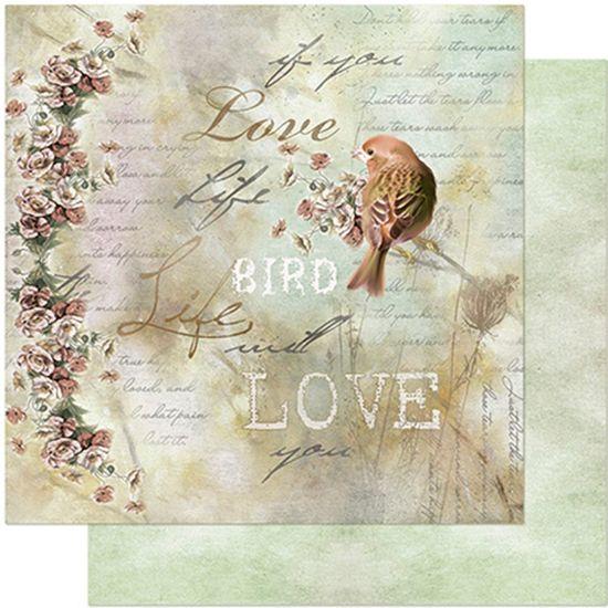Papel Scrapbook Litoarte 30,5x30,5 SD-952 Pássaro, Flores e Palavras
