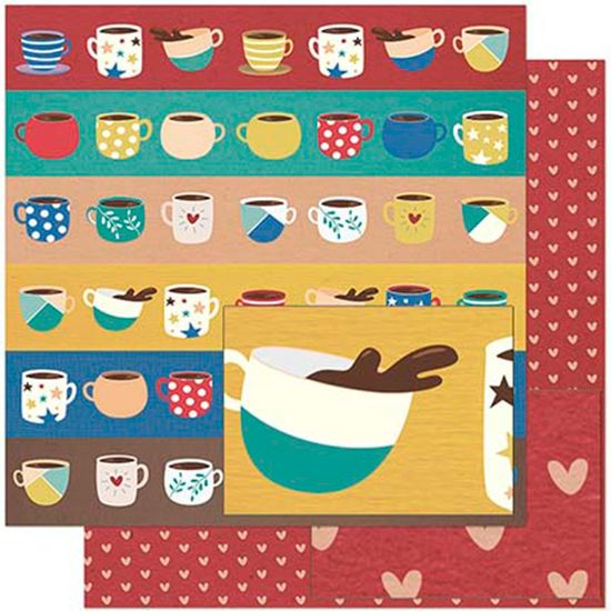 Papel Scrapbook Litoarte 30,5x30,5 SD-925 Xícaras Coloridas