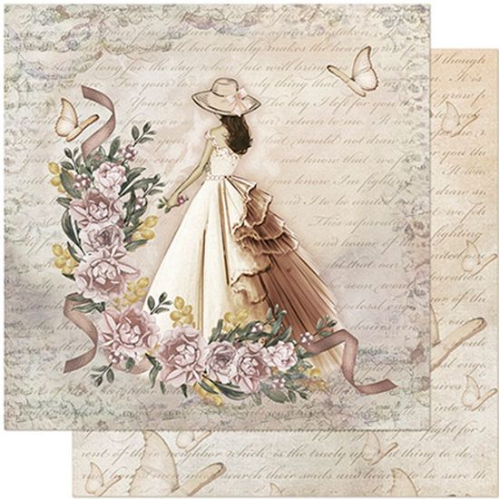 Papel Scrapbook Litoarte 30,5x30,5 SD-950 Dama, Rosas e Borboletas
