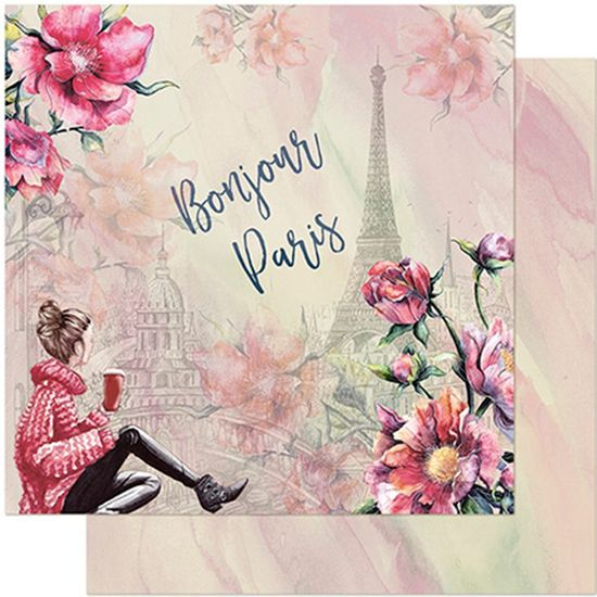 Papel Scrapbook Litoarte 30,5x30,5 SD-957 Jovem, Flores e Torre Eiffel