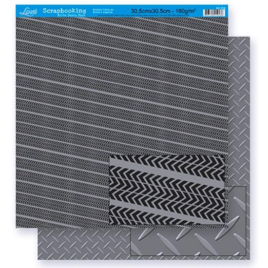 Papel Scrapbook Litoarte 30,5x30,5 SD-296 Abstrato Preto e Cinza