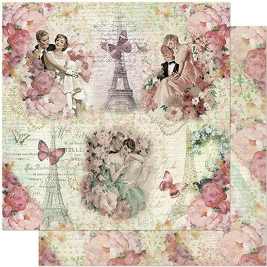 Papel Scrapbook Litoarte 30,5x30,5 SD-963 Casais, Flores e Torre Eiffel