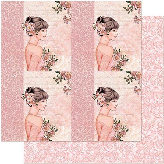 Papel Scrapbook Litoarte 30,5x30,5 SD-961 Quadros Jovem com Rosas