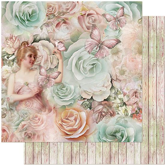 Papel Scrapbook Litoarte 30,5x30,5 SD-966 Dama, Borboleta e Rosas