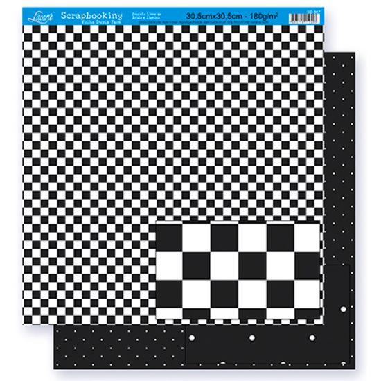 Papel Scrapbook Litoarte 30,5x30,5 SD-297 Quadriculado e Poá Preto e Branco