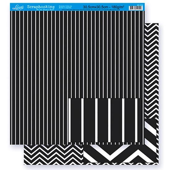 Papel Scrapbook Litoarte 30,5x30,5 SD-298 Listras e Chevron Preto e Branco