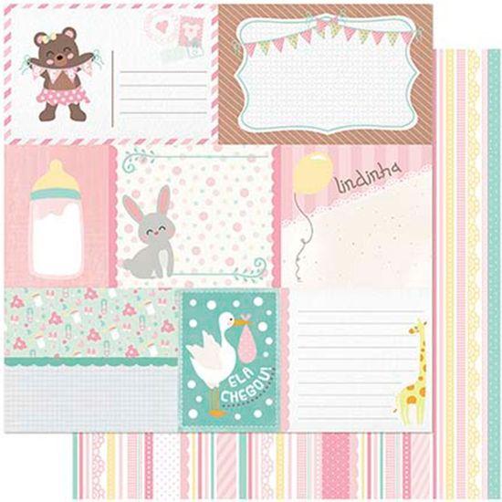 Papel Scrapbook Litoarte 30,5x30,5 SD-989 Tags Bebê Feminino Verso Listras