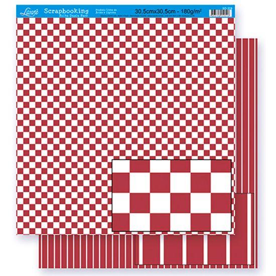 Papel Scrapbook Litoarte 30,5x30,5 SD-299 Quadrado e Listras Vermelho e Branco