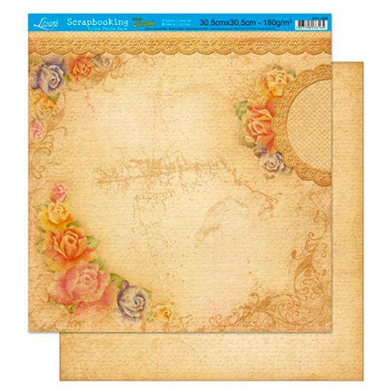 Papel Scrapbook Litoarte 30,5x30,5 SD1-002 Rosas Rústico