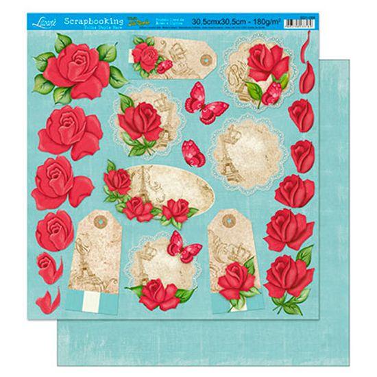 Papel Scrapbook Litoarte 30,5x30,5 SD1-004 Tags Rosa
