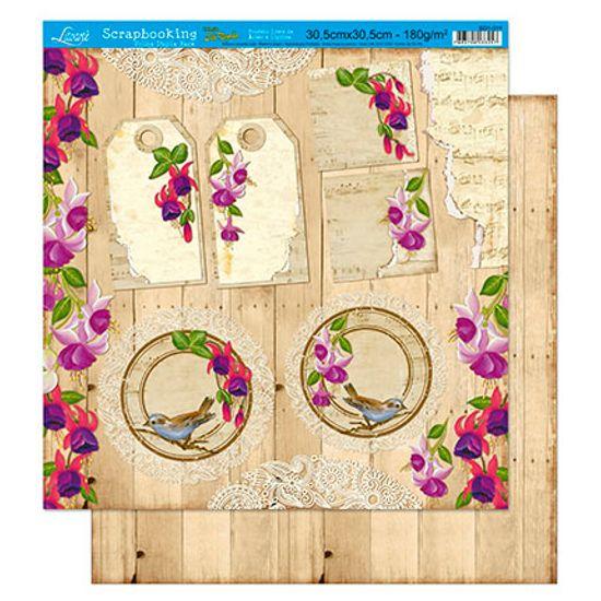 Papel Scrapbook Litoarte 30,5x30,5 SD1-011 Tag e Flor