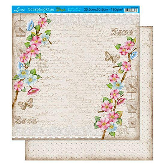 Papel Scrapbook Litoarte 30,5x30,5 SD1-014 Flores com Fundo Bege