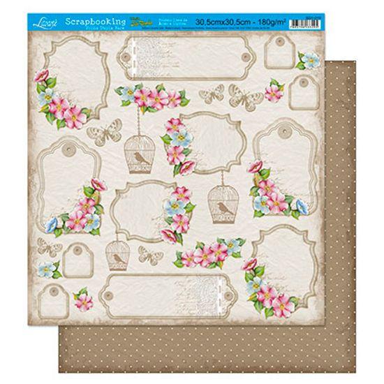 Papel Scrapbook Litoarte 30,5x30,5 SD1-015 Tags com Fundo Bege