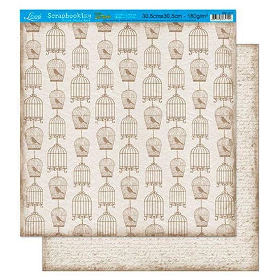 Papel Scrapbook Litoarte 30,5x30,5 SD1-017 Gaiolas