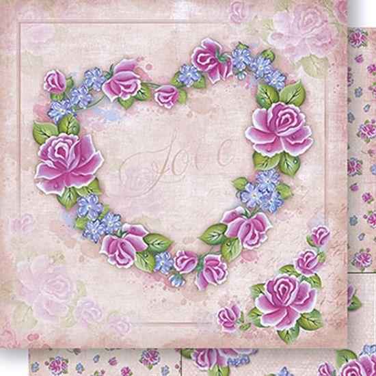 Papel Scrapbook Litoarte 30,5x30,5 SD1-044 Coração Rosas Love