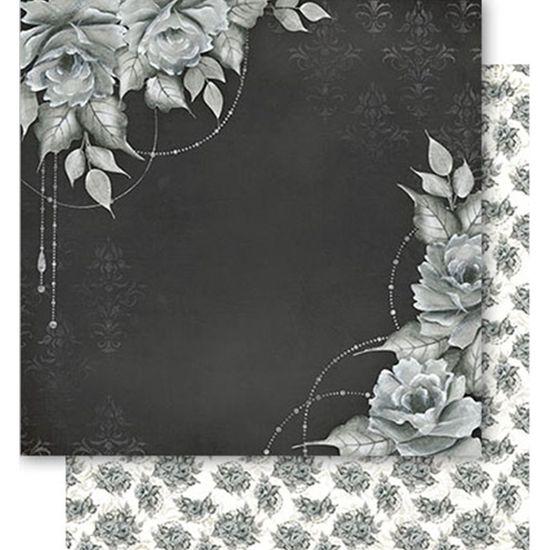 Papel Scrapbook Litoarte 30,5x30,5 SD1-059 Rosas Preto e Branco