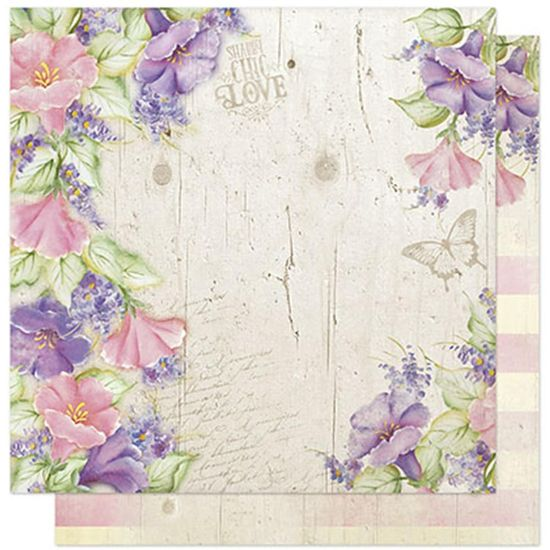 Papel Scrapbook Litoarte 30,5x30,5 SD1-060 Flores Rosa e Lilás