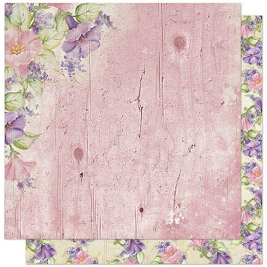 Papel Scrapbook Litoarte 30,5x30,5 SD1-061 Flores Rosa e Lilás