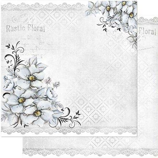 Papel Scrapbook Litoarte 30,5x30,5 SD1-080 Flores Cinza e Renda