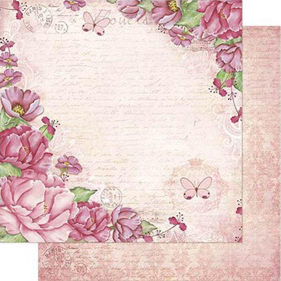 Papel Scrapbook Litoarte 30,5x30,5 SD1-086 Peônias Fundo Rosa