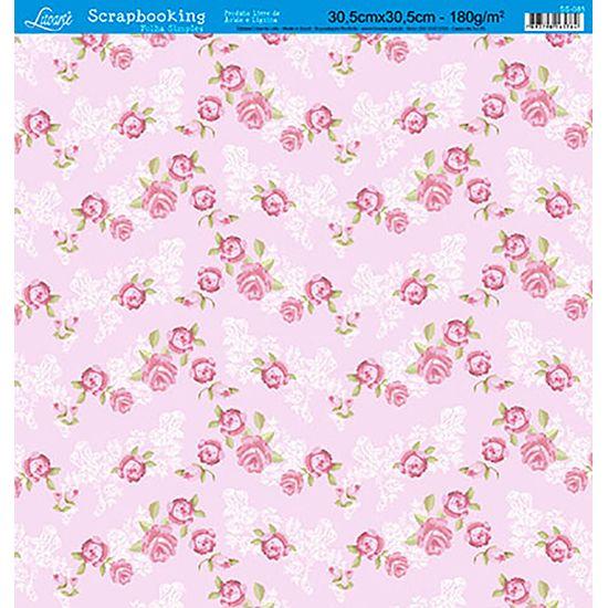 Papel Scrapbook Litoarte 30,5x30,5 SS-085 Rosas