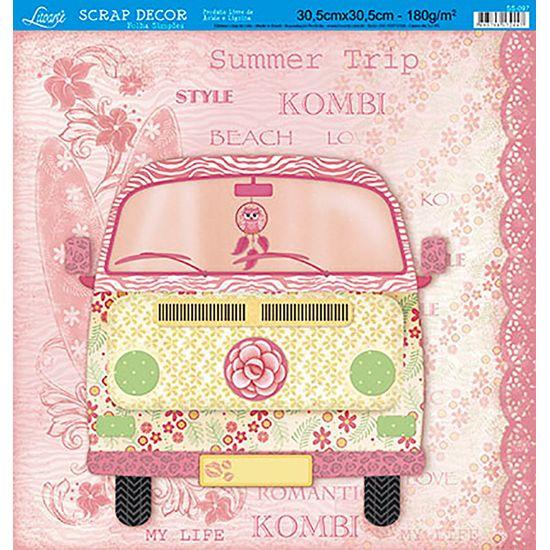 Papel Scrapbook Litoarte 30,5x30,5 SS-097 Kombi Rosa