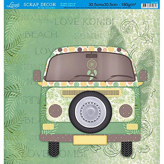 Papel Scrapbook Litoarte 30,5x30,5 SS-099 Kombi Verde