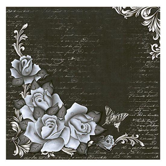 Papel Scrapbook Litoarte 30,5x30,5 SS1-003 Rosas Preto e Branco