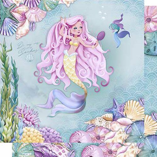 Papel Scrapbook Litoarte Sd-614 Dupla Face 30,5x30,5cm Sereia de Cabelo Rosa com Espelho