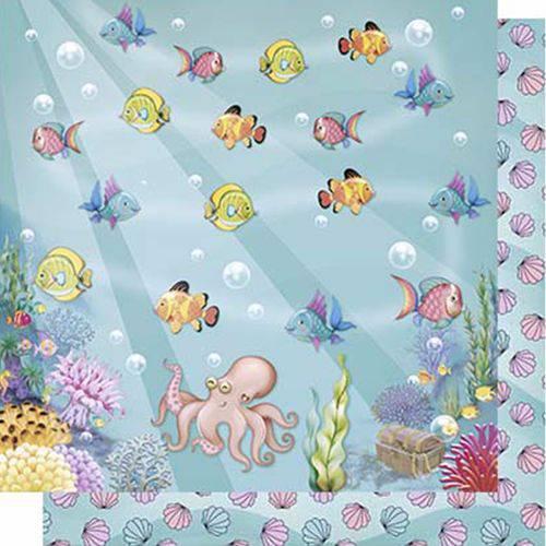 Papel Scrapbook Litoarte Sd-615 Dupla Face 30,5x30,5cm Peixinhos Fundo do Mar
