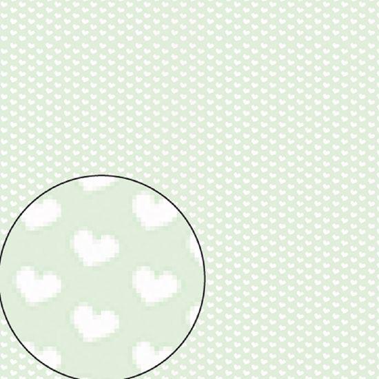 Papel Scrapbook Litocart 30,5x30,5 LSC-192 Coração Branco e Verde