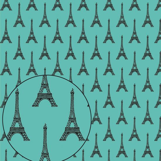Papel Scrapbook Litocart 30,5x30,5 LSC-283 Torre Eiffel Verde