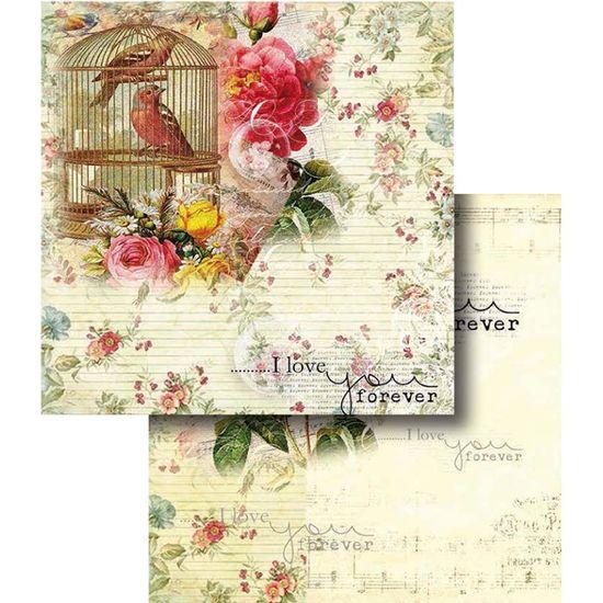 Papel Scrapbook Litocart 30,5x30,5 LSCD-321 Flores e Gaiola com Pássaros
