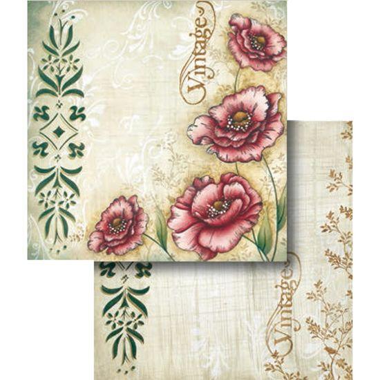 Papel Scrapbook Litocart 30,5x30,5 LSCD-313 Flores Vintage