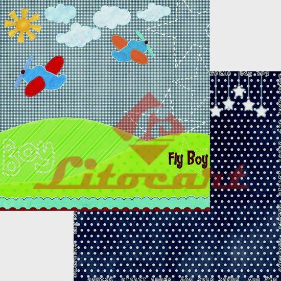 Papel Scrapbook Litocart 30,5x30,5 LSCD-198 Avião e Poá Fundo Azul