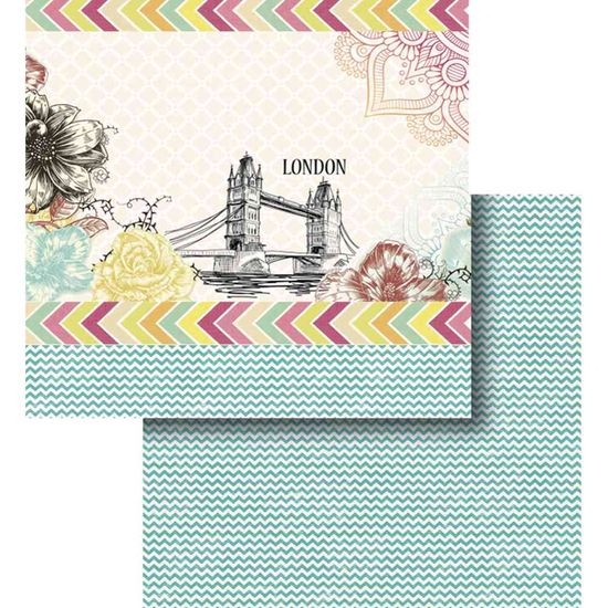 Papel Scrapbook Litocart 30,5x30,5 LSCD-415 Londres e Chevron