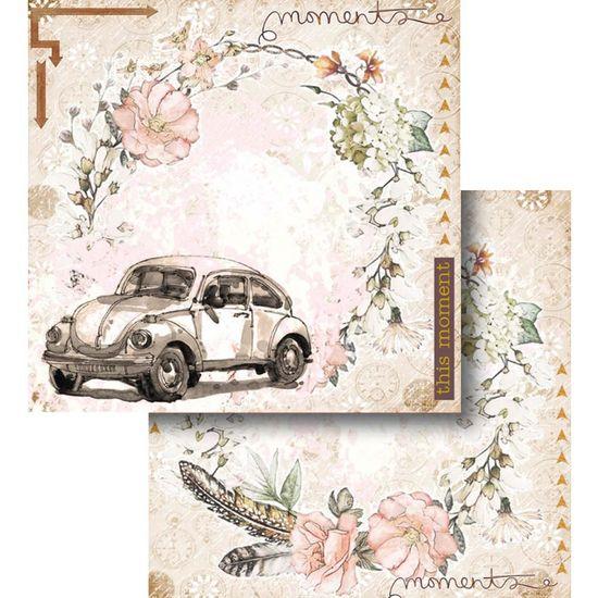Papel Scrapbook Litocart 30,5x30,5 LSCD-440 Fusca e Guirlanda de Flores