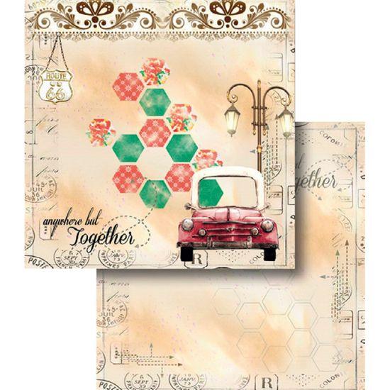 Papel Scrapbook Litocart 30,5x30,5 LSCD-368 Carro Antigo