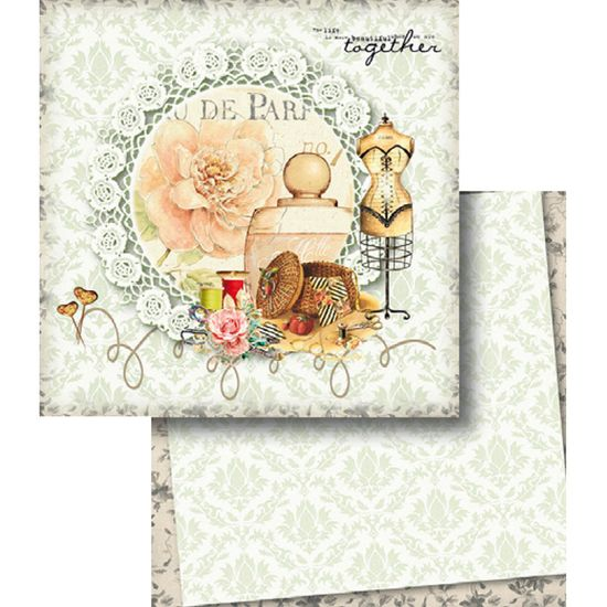 Papel Scrapbook Litocart 30,5x30,5 LSCD-371 Costura e Arabesco