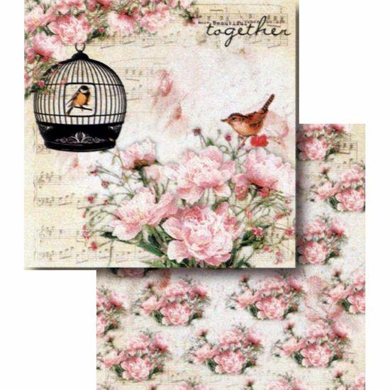 Papel Scrapbook Litocart 30,5x30,5 LSCD-393 Pássaro na Gaiola e Flores