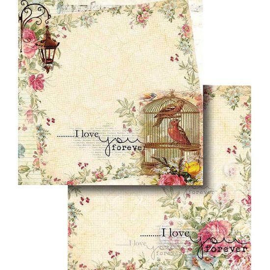 Papel Scrapbook Litocart 30,5x30,5 LSCD-322 Flores e Gaiola com Pássaros