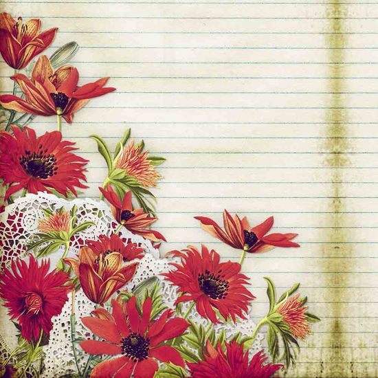 Papel Scrapbook Litocart 30,5x30,5 LSCE-018 Flor Vermelha