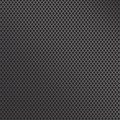 Papel Scrapbook Metalizada - SDF718 - Marroquino Prateado FD Preto - Toke e Crie
