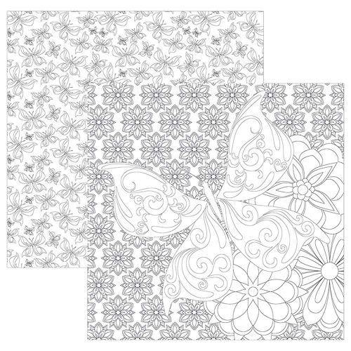 Papel Scrapbook para Colorir Borboletas SDF560 - Toke e Crie By Flavia Terzi
