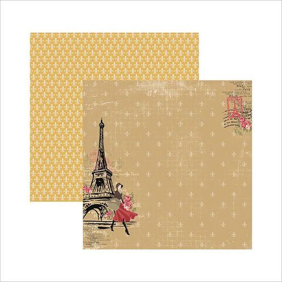 Papel Scrapbook Paris Fashion Torre SDF472 - Toke e Crie By Flavia Terzi