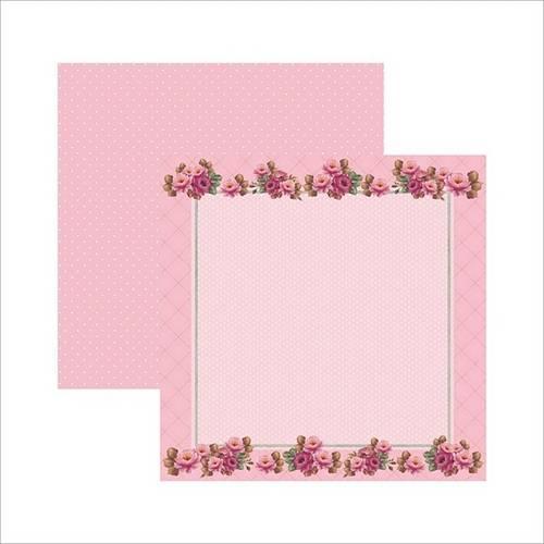 Papel Scrapbook Rosas Delicadas Moldura Sdf510 - Toke e Crie By Mamiko