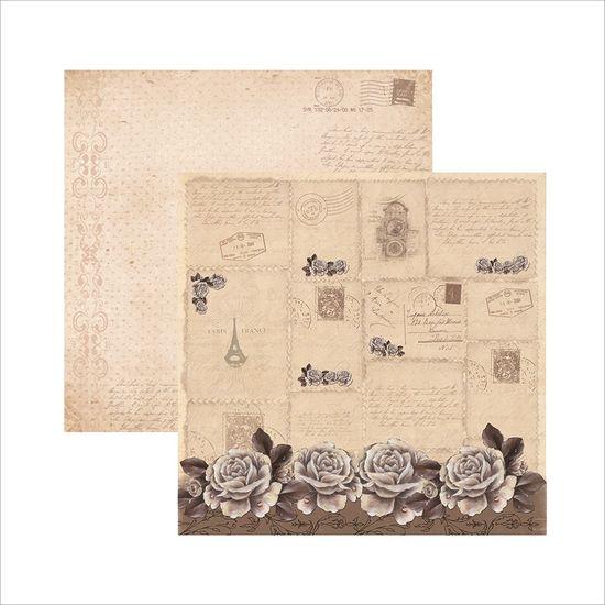 Papel Scrapbook Rosas Nuge Vintage Barrado SDF428 - Toke e Crie By Mamiko