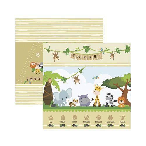 Papel Scrapbook - SDF754 - Festa DF Meu Safari Cenários e Bandeirolas - Toke e Crie