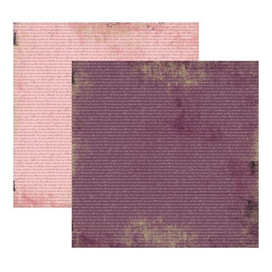 Papel Scrapbook Toke e Crie 30,5x30,5 KFSB172 Vintage Lilás Manuscrito