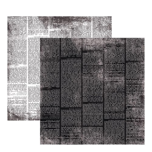 Papel Scrapbook Toke e Crie 30,5x30,5 KFSB181 Vintage Preto Jornal